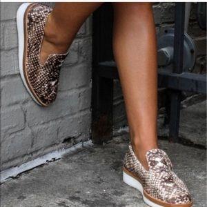 Free People Velvet Snakeskin Slip On Loafer Shoes